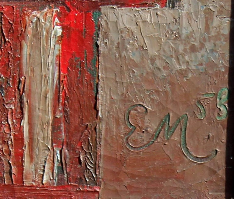 American abstract Bauhaus style high rise building. Oil on canvas, signed