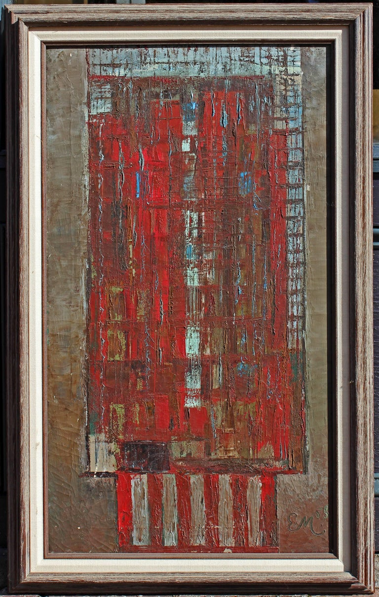 Mid-Century Modern Abstract Bauhaus Style Building Oil Painting For Sale