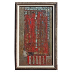 Abstract Bauhaus Style Building Oil Painting