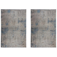 Abstract Beige Gray Light Blue Fade Pattern Luxury Soft Semi-Plush Rug Pair