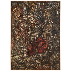 Abstract Black and Red Oil on Board Painting by Artist Andre Lapiere