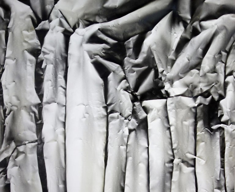 Dramatic and eye-catching is this large scale contemporary black and white painting Nonconforming by Edward Evans. Evans creates sculptural modern illusions that are both lush and stark thus mastering this air brush technique which is quite