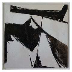 Abstract Black and White Mixed Media Painting, Davide Serio, Italy, 2021