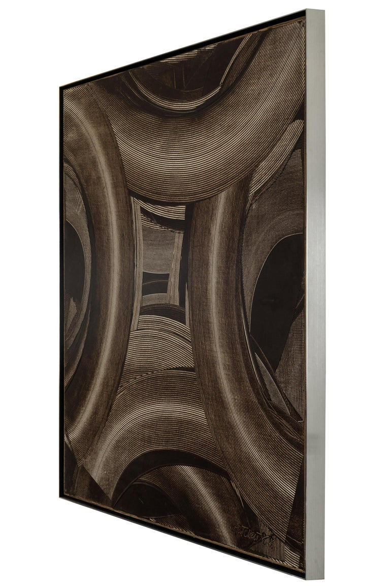Strong and aggressive strokes weave in and out from the center of the canvas in a symmetrical pattern. The pattern recalls the mark making of Richard Serra. An extremely graphic and present image.
