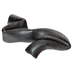 Abstract Black Stoneware Ceramic Sculpture by Joelle Deroubaix, circa 1980