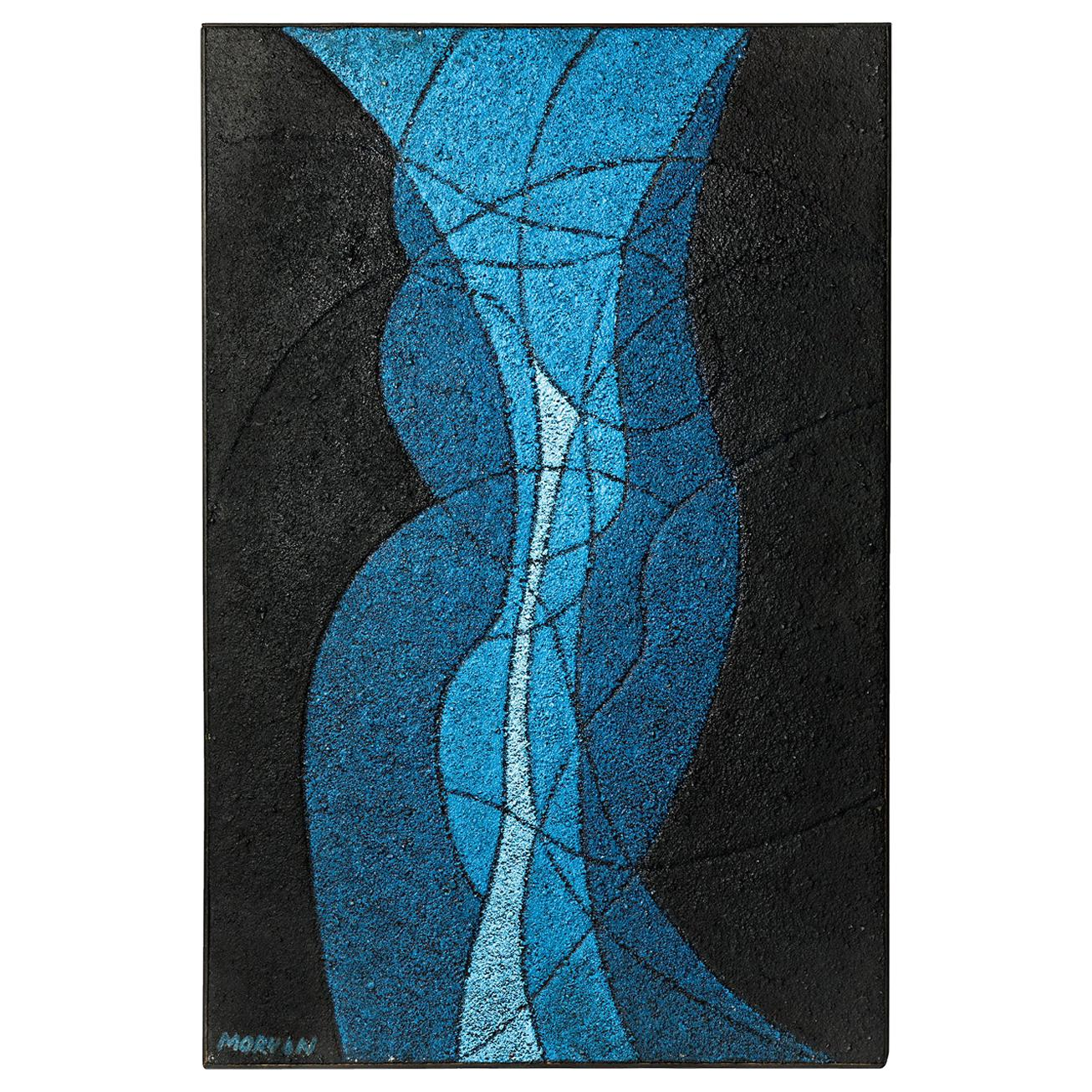Abstract Blue and Black Painting by Jean Jacques Morvan circa 1960 Oil on Panel