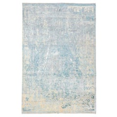 Abstract Blue and Gray Silk and Wool Handmade Rug