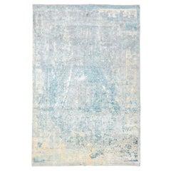 Abstract Blue and Gray Silk and Wool Handmade Rug