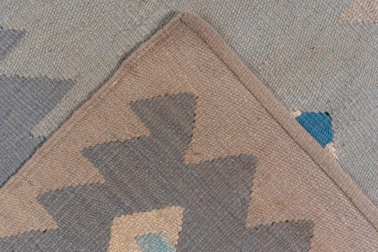 Scandinavian Modern Abstract Blue & Gray Scandinavian Design Rug For Sale