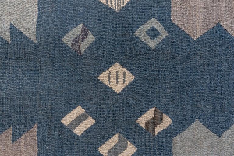 Contemporary Abstract Blue & Gray Scandinavian Design Rug For Sale
