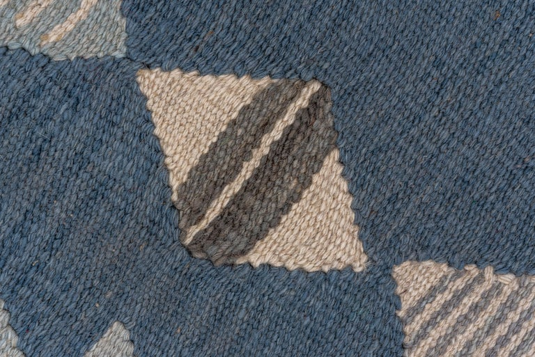 Wool Abstract Blue & Gray Scandinavian Design Rug For Sale
