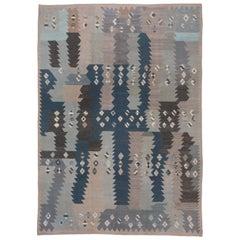 Abstract Blue & Gray Scandinavian Design Rug
