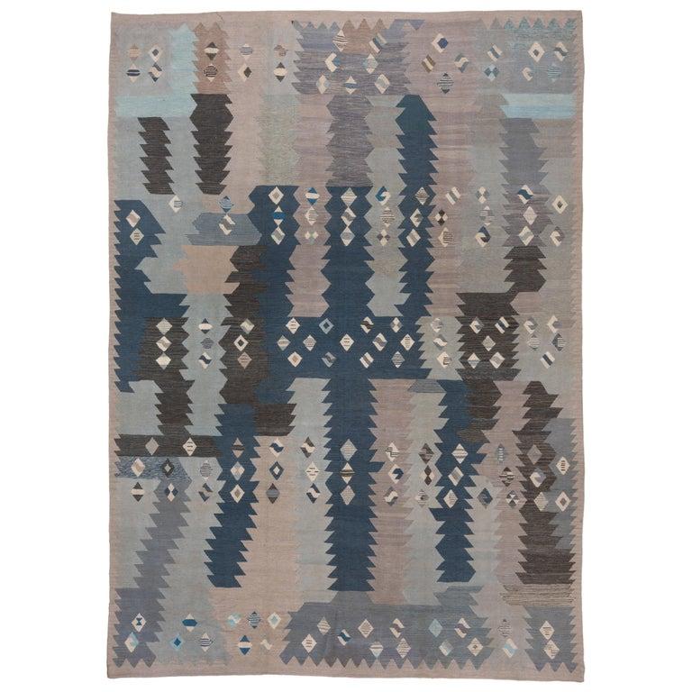 Abstract Blue & Gray Scandinavian Design Rug For Sale