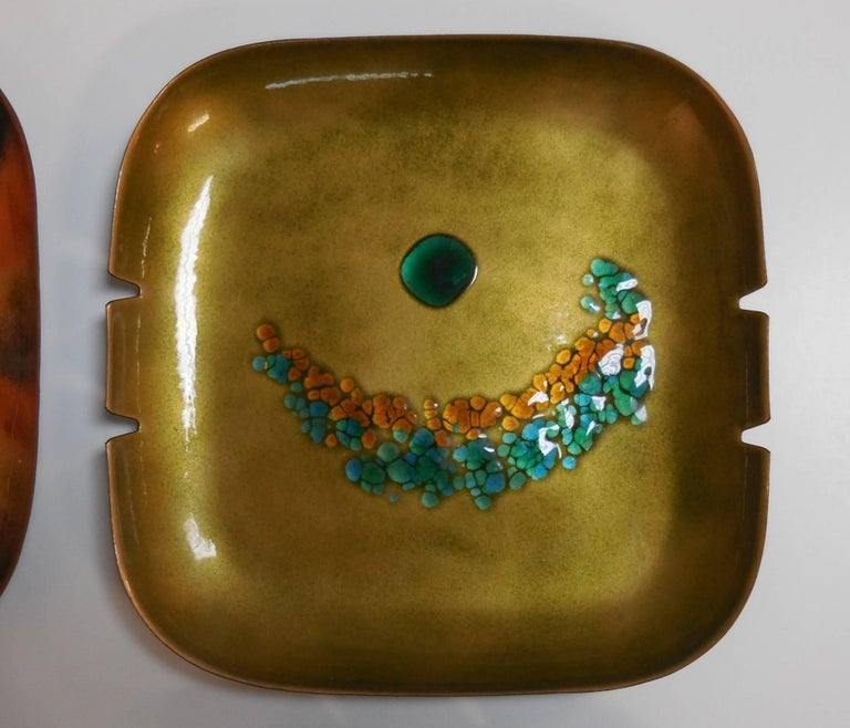 Abstract Bovano Enamel Bowls or Ashtrays, Collection of Four For ...