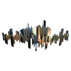 Abstract Brass and Chrome Wall Sculpture by Curtis Jere, USA, 1972