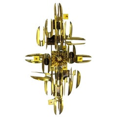 Abstract Brass and Enamel Sculptural Wall Clock