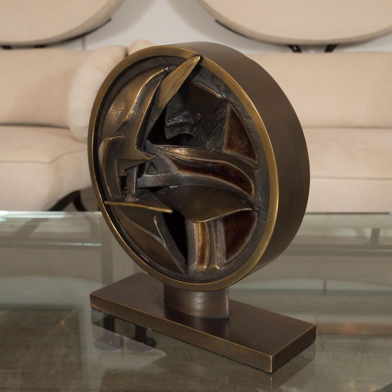 Abstract bronze and enamel sculpture by Del Campo. Signed.
