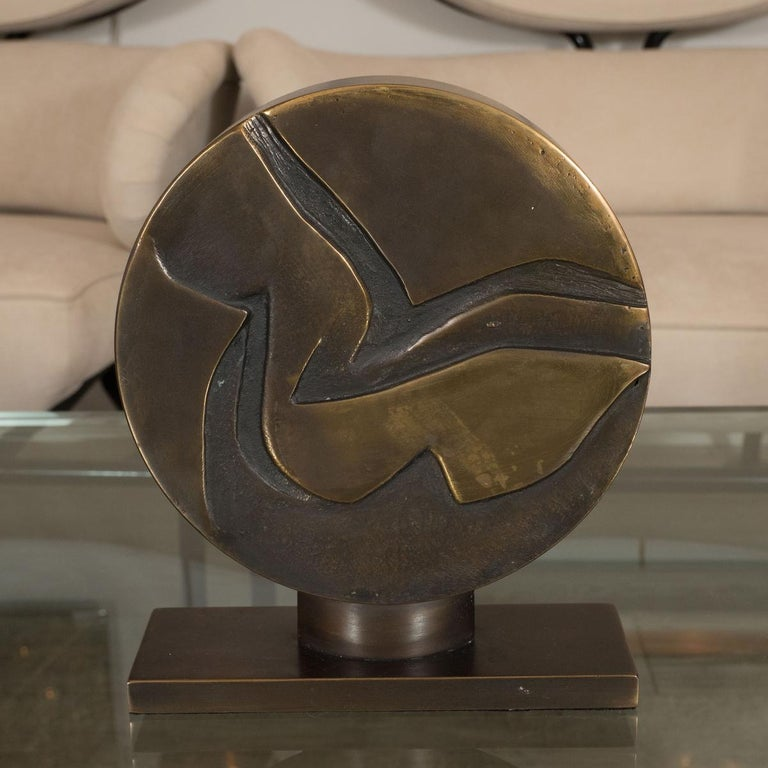 Italian Abstract Bronze and Enamel Sculpture For Sale
