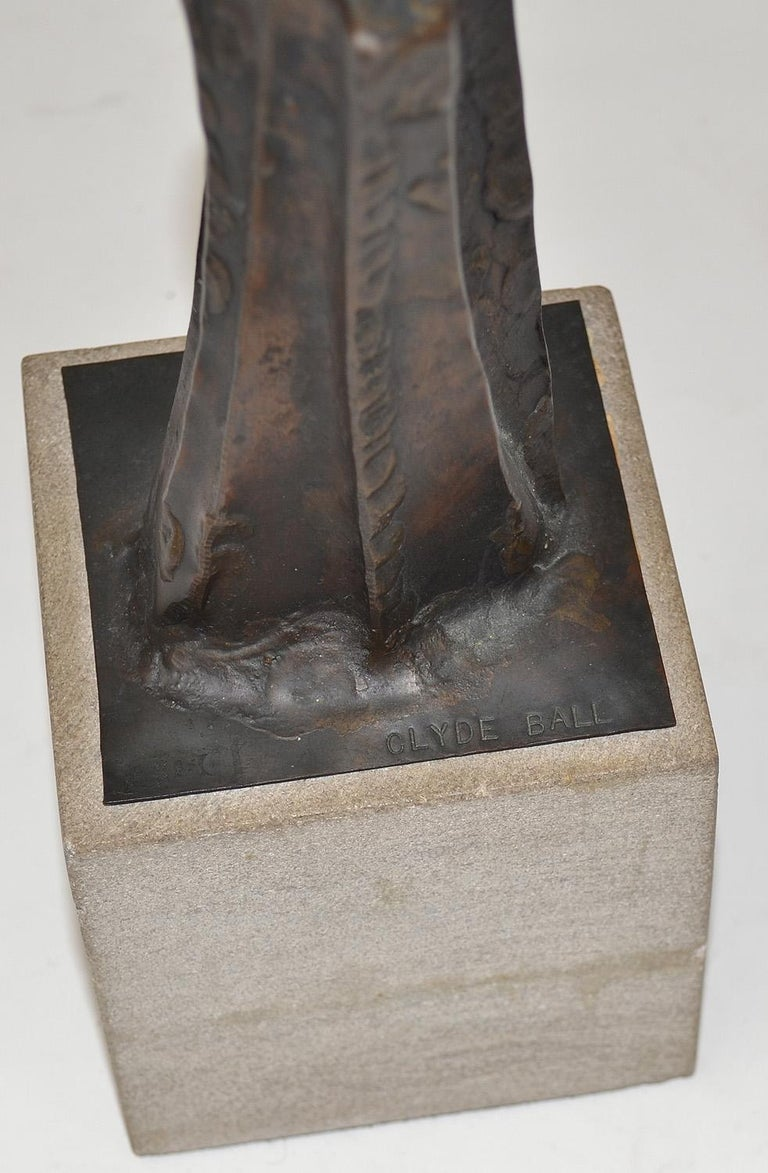 Late 20th Century Abstract Bronze Brutalist Sculpture by Clyde Ball For Sale