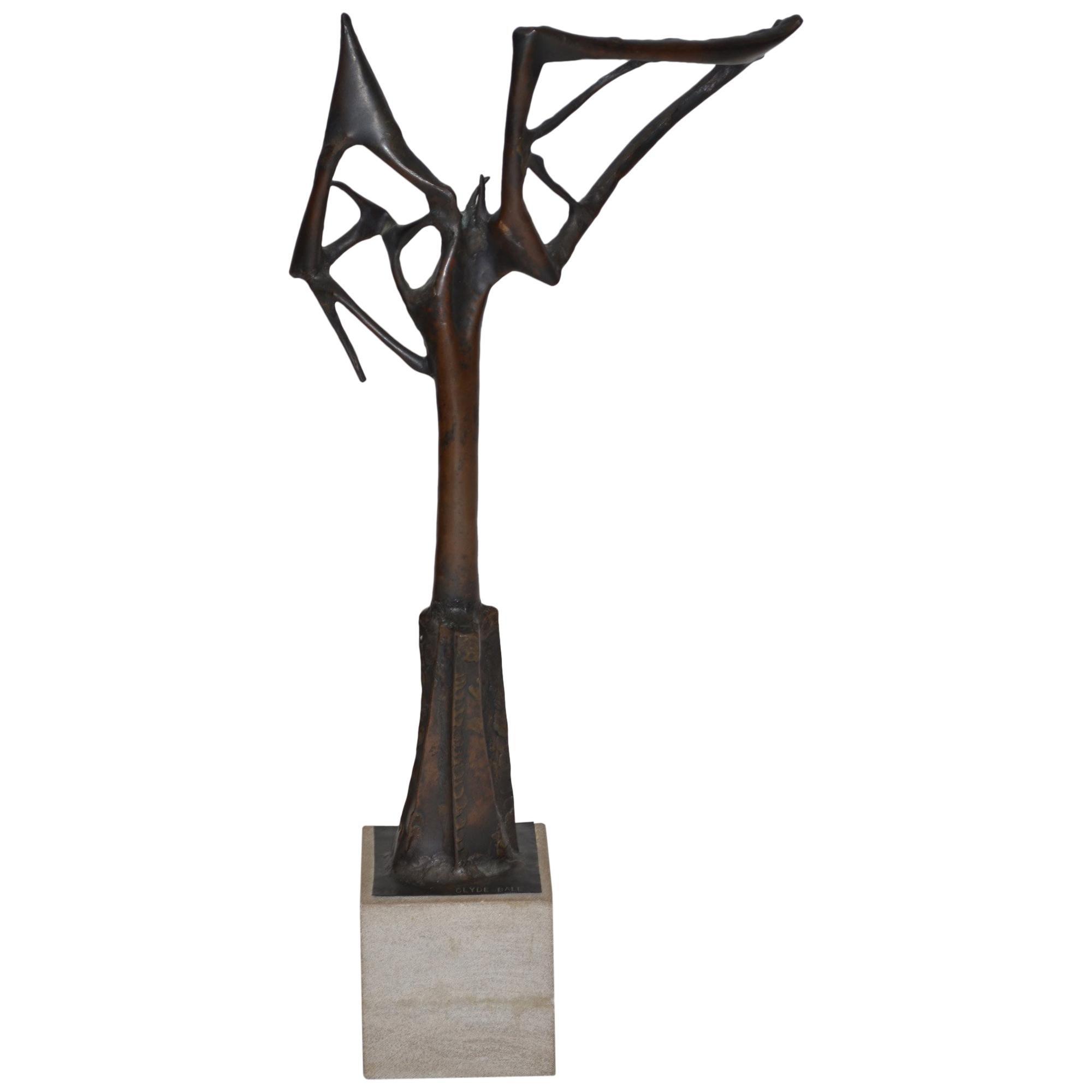 Abstract Bronze Brutalist Sculpture by Clyde Ball