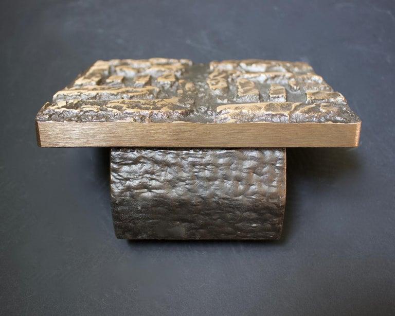 Cast Abstract Bronze Door Handle & Escutcheon 'Unused', 1960s For Sale