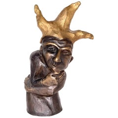 """Abstract Bronze Sculpture by Claudia Katrin Leyh """"Joker"""" limited Edition 1/13"""