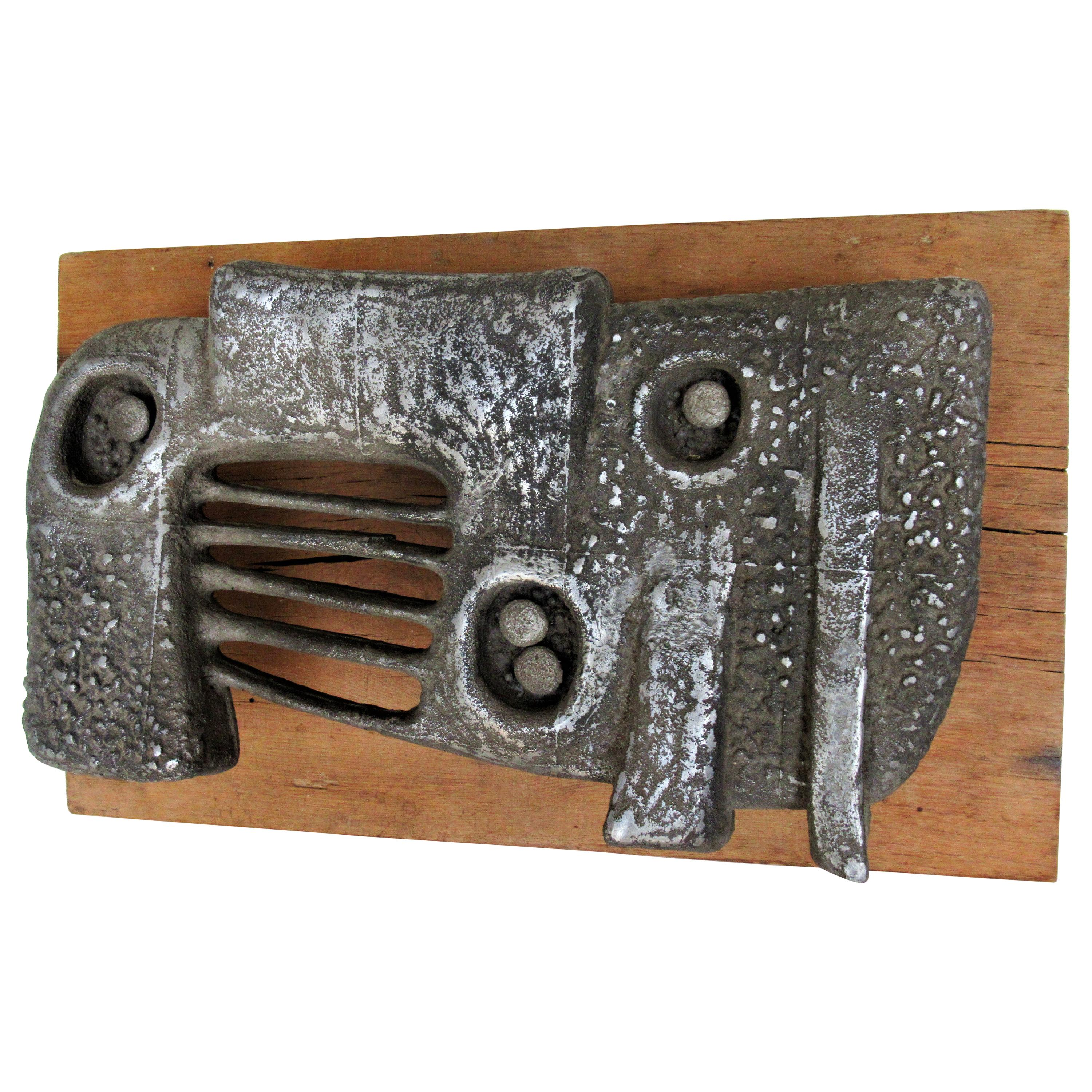 Abstract Brutalist Cast Metal Wall Sculpture by William F. Sellers, 1961