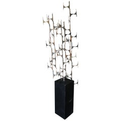 Abstract Brutalist Cut Steel Floor Sculpture on Black Pedestal