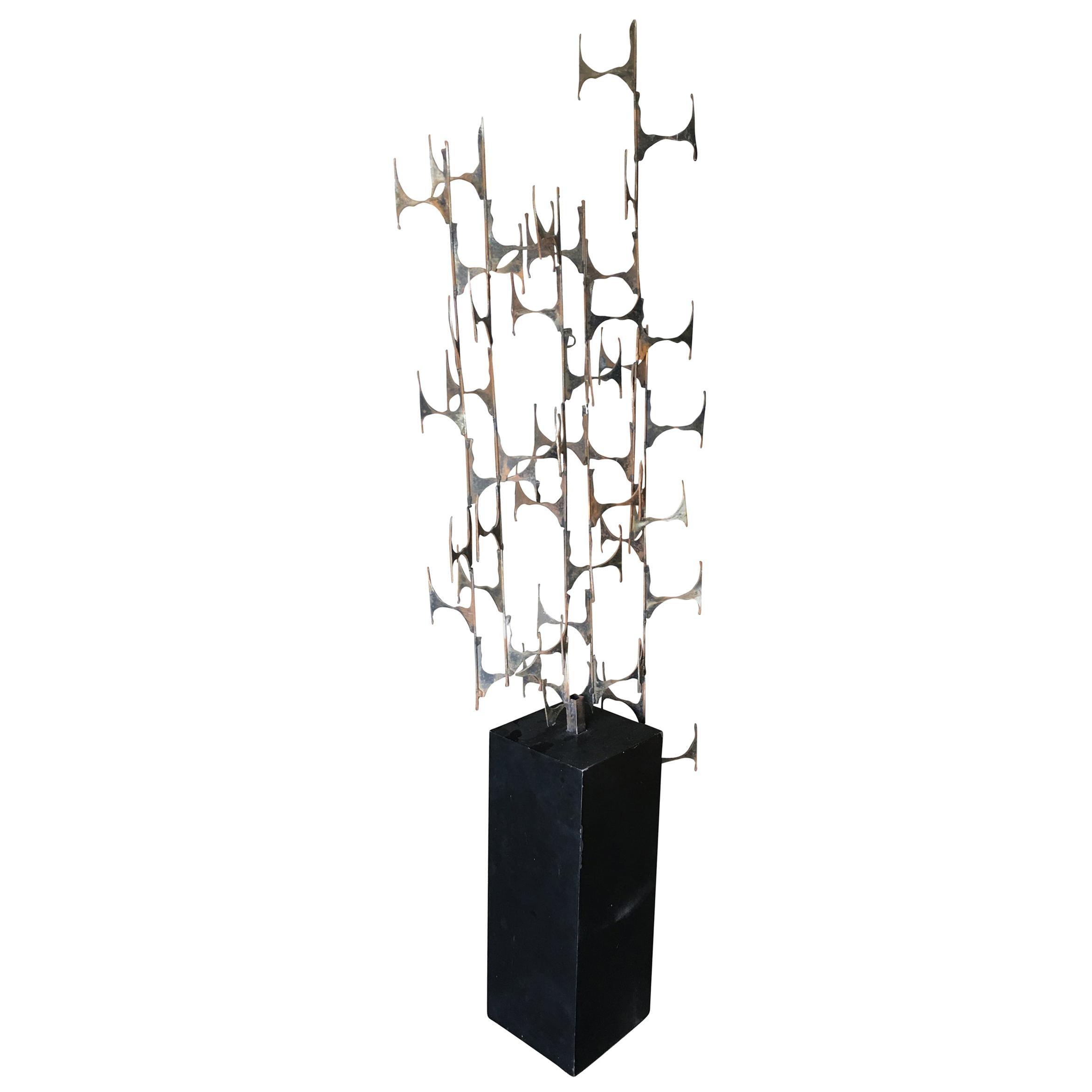 Abstract Brutalist Cut Steel Floor Sculpture on Black Pedestal