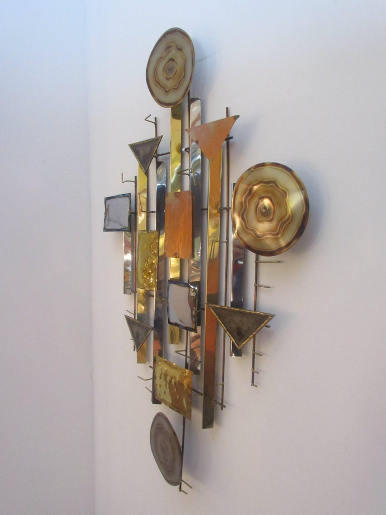 Abstract Brutalist Metal Wall Sculpture in the Style of C ...