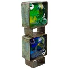 Abstract Brutalist Steel Green Blue Glass Art Work Sculpture