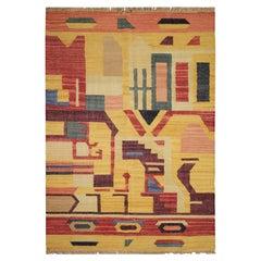 Abstract Carpet Modern Geometric Kilim Rug Wool Kilim Area Rug 127 x 180cm