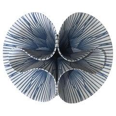 "Abstract Ceramic Sculpture ""Flor Espejo Cobalto,"" by Maria Oriza-Perez"