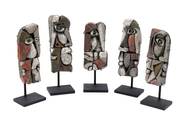 French Abstract Ceramic Sculptures, France 1990s For Sale