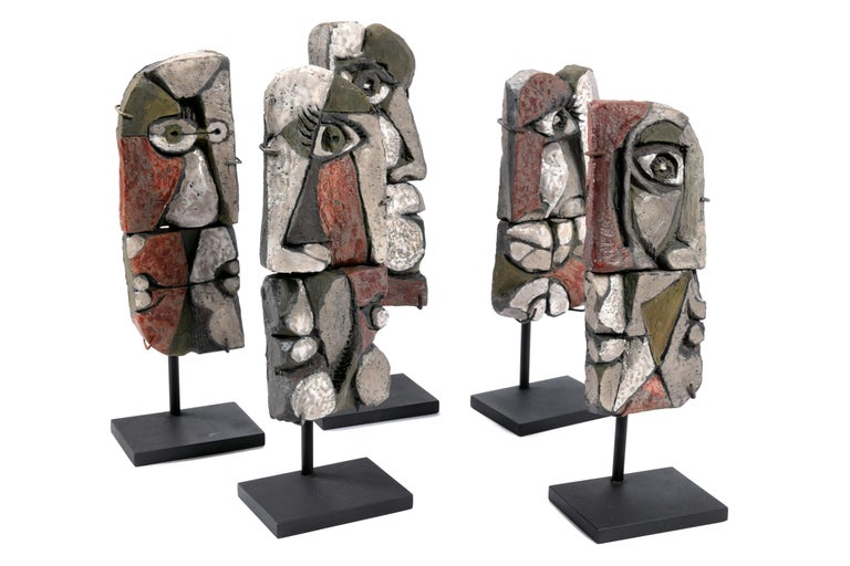 Glazed Abstract Ceramic Sculptures, France 1990s For Sale