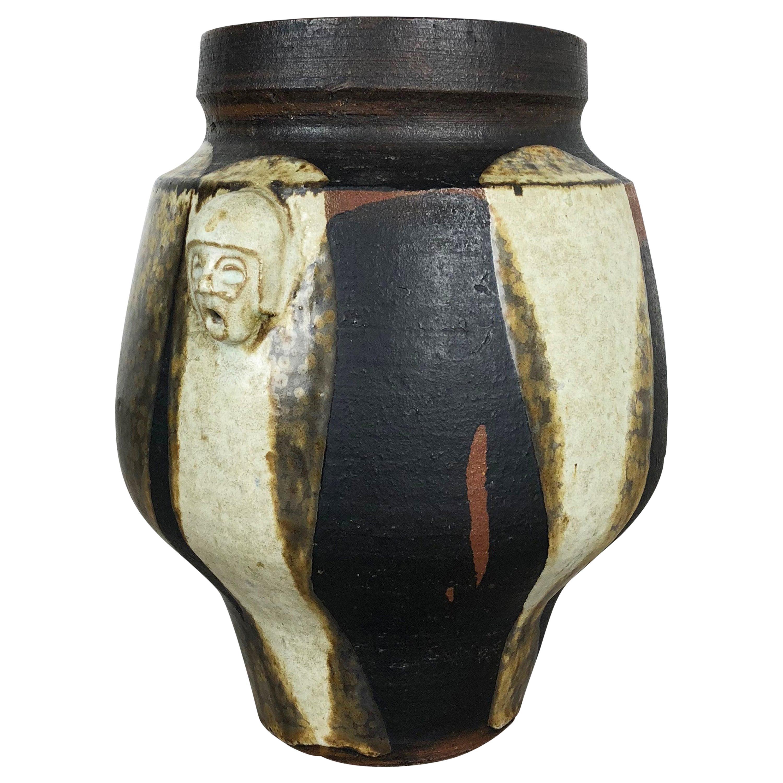 "Abstract Ceramic Studio Pottery Vase ""Heads"" Gerhard Liebenthron, Germany, 1970s"