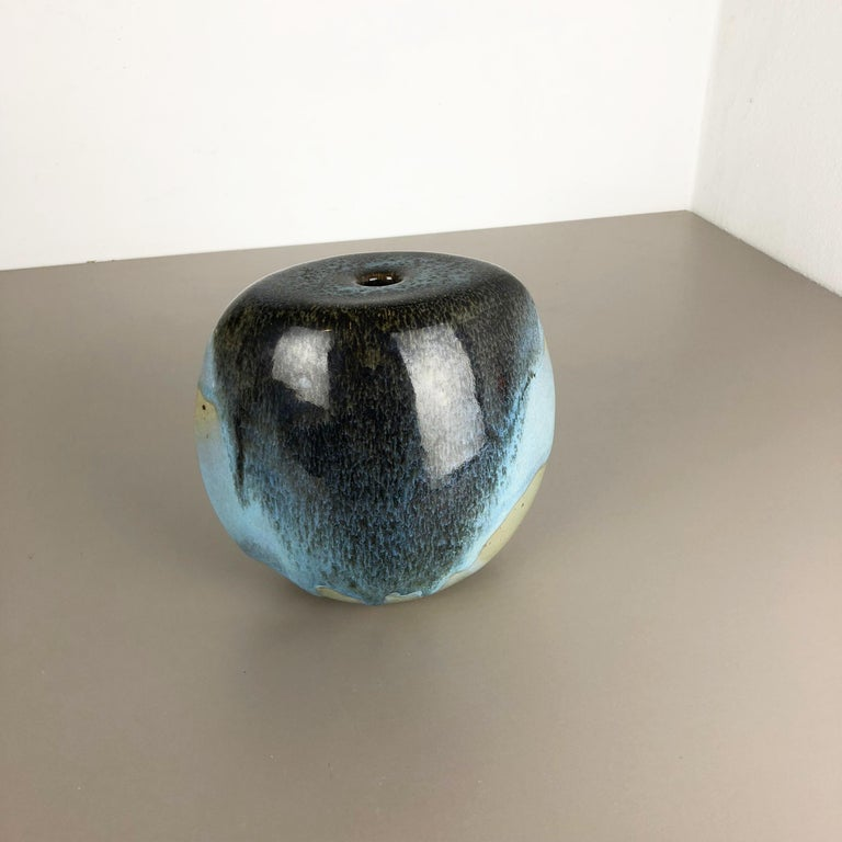 Mid-Century Modern Abstract Ceramic Studio Stoneware Vase by Gotlind Weigel, Germany, 1960s For Sale