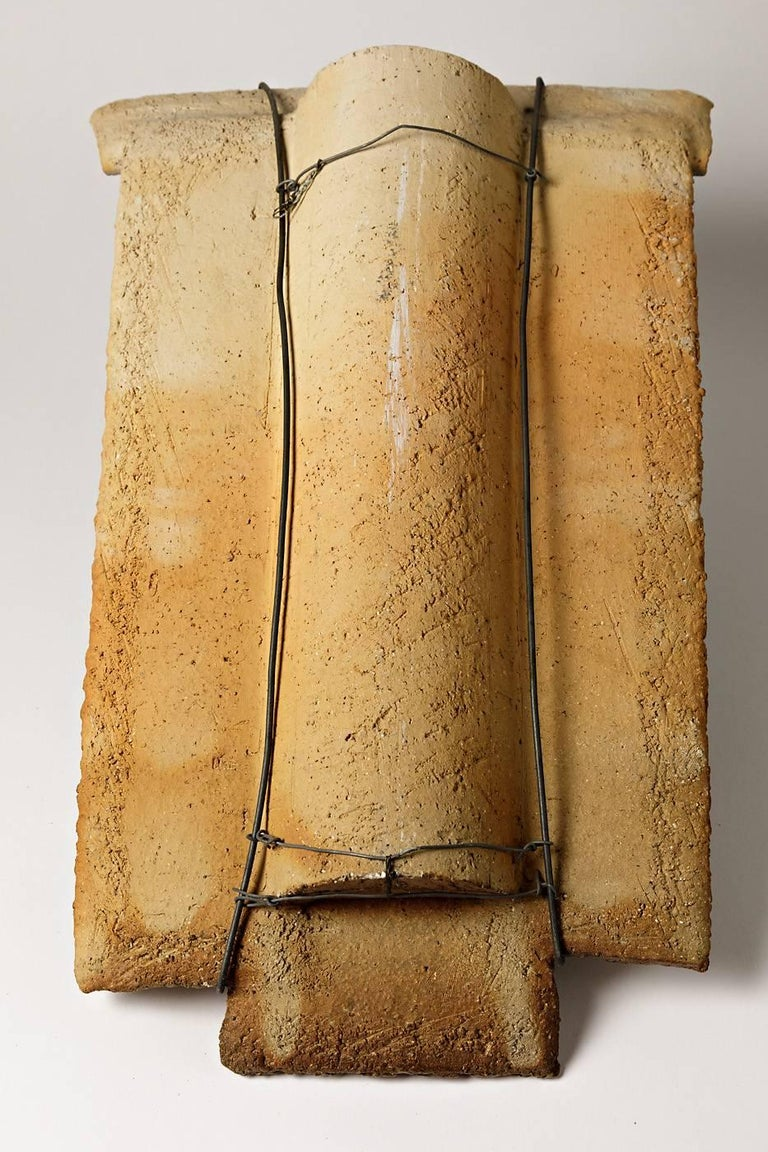 Late 20th Century Abstract Ceramic Wall Panel by French Artist Jacqueline Paul Dauphin, circa 1980 For Sale