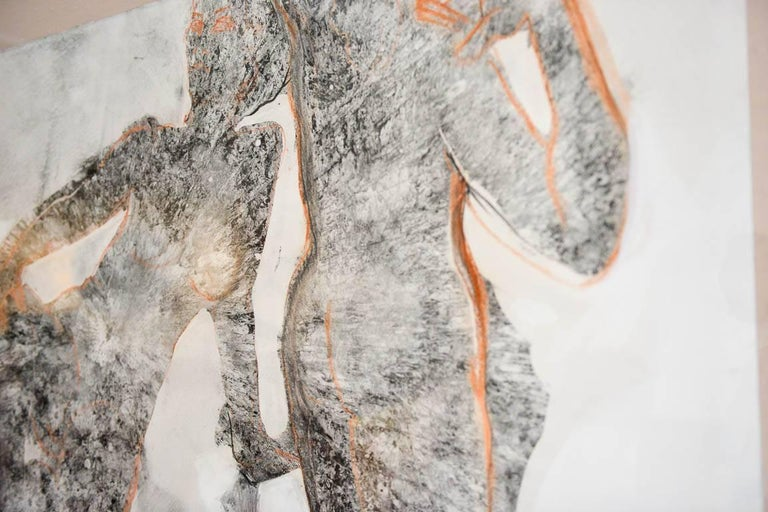Mid-Century Modern Abstract Charcoal and Pencil 'Yin and Yang' by California Artist Bernice Riley For Sale