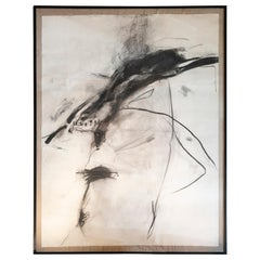 Abstract Charcoal Work on Parchment Paper, Belgium, 1987