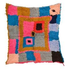 Abstract Chequerboard Design Moroccan Boucherouite Boujad Berber Rug