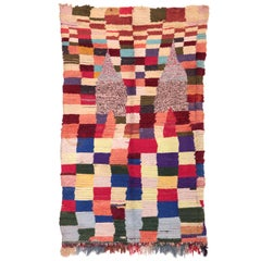Abstract Chequerboard Design Vintage Moroccan Berber Rug
