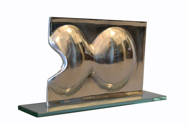 Abstract Chrome and Glass Table Sculpture For Sale 5