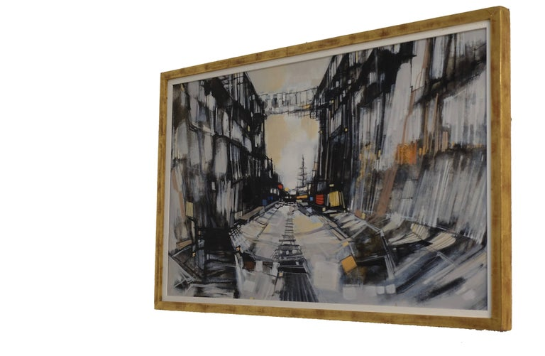 Mid-Century Modern Abstract Cityscape Painting by Max Gunther, Europe Midcentury, 1960s For Sale