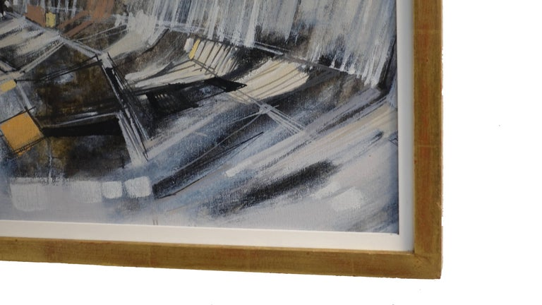 Abstract Cityscape Painting by Max Gunther, Europe Midcentury, 1960s In Excellent Condition For Sale In San Francisco, CA