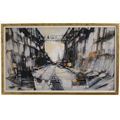 Abstract Cityscape Painting by Max Gunther, Europe Midcentury, 1960s