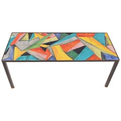Mid-Century Hand-Painted Abstract Coffee Table, circa 1955