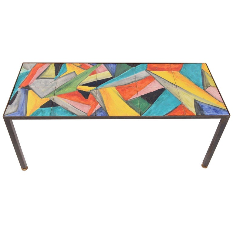 Mid Century Hand Painted Abstract Coffee Table Circa 1955 For Sale At 1stdibs