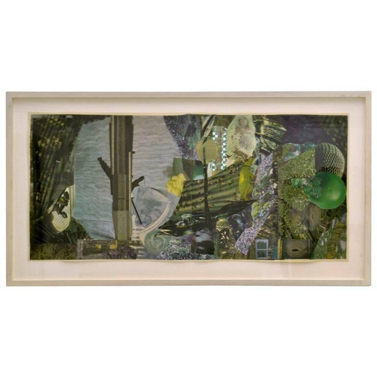 Abstract Collage Art in Green by Bill Allan, UK, 1993