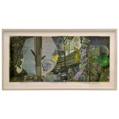 Abstract Collage Art in Tones of Green by Bill Allan, UK, 1993